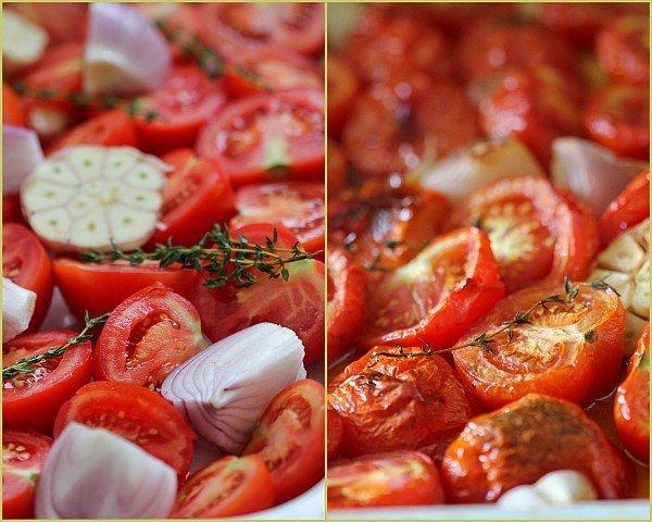 עגבניות צלויות - לפני ואחרי